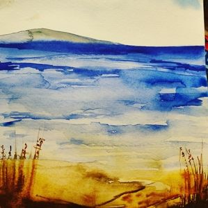 The beach watercolor painting